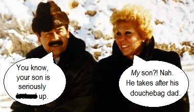 Saddam and Sajida Hussein on vacation