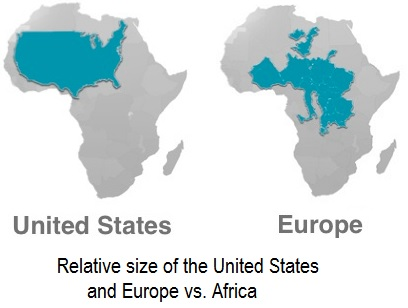 The comparative size of Africa, the United Sates, and Europe