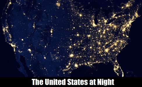 The United States at Night from a NASA satellite image