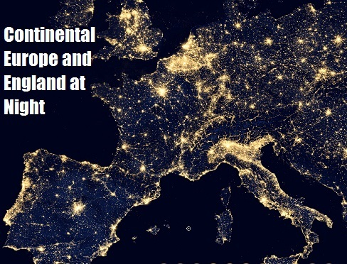 Western Europe at Night from a NASA satellite image