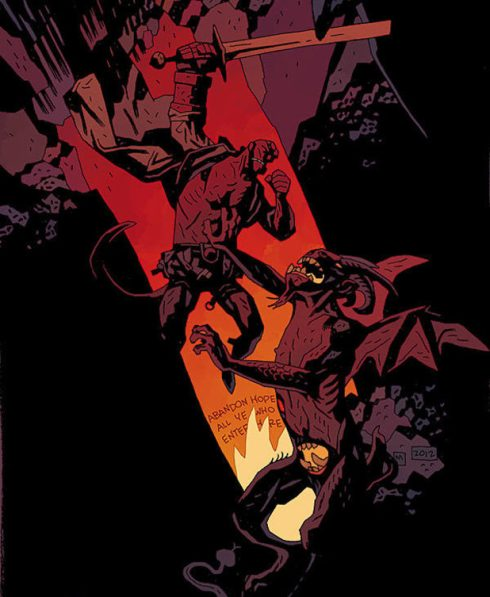 Hellboy in Hell Pinup by Mike Mignola
