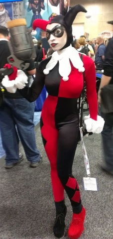 Sexy, big breasts Harley Quinn cosplayer at Comic-Con