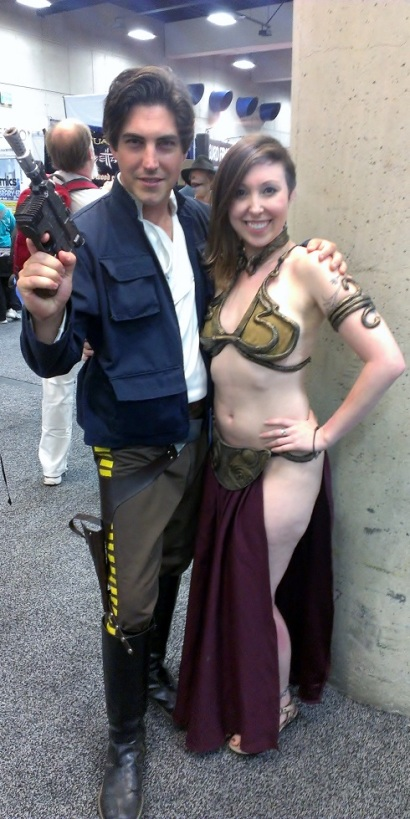Han Solo and Slave Princess Leia cosplay