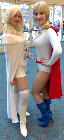 White Queen and Power Girl cosplayers