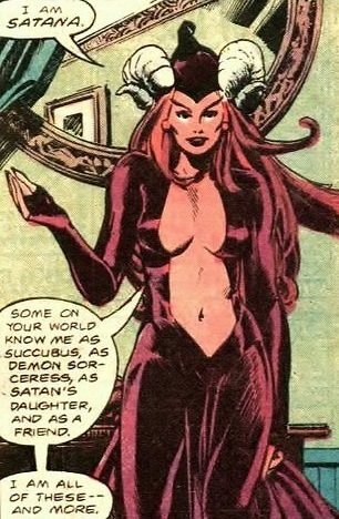 Sexy comic book character: Satana introducing herself