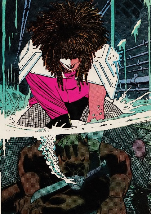 Typhoid Mary attempts to drown Daredevil
