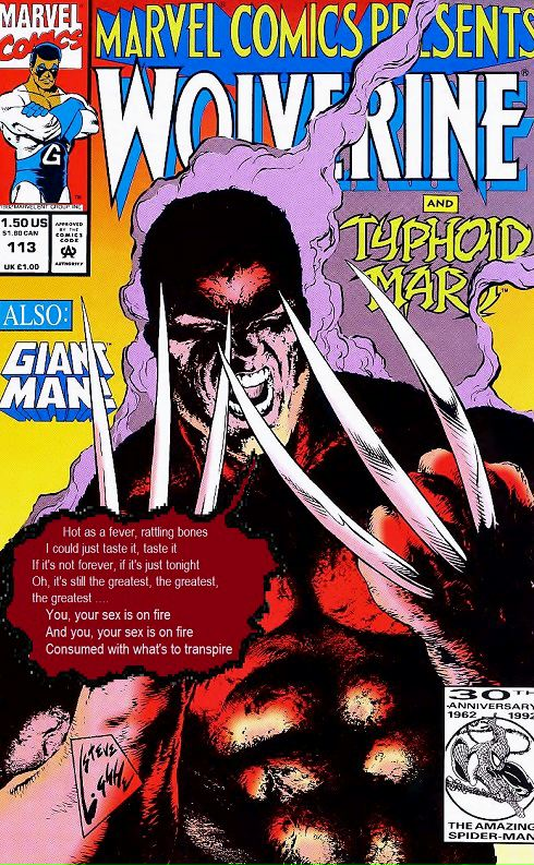 Wolverine burned by Typhoid Mary