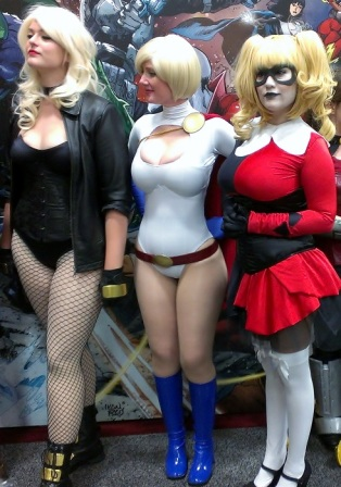 Sexy Black Canary, Power Girl, Harley Quinn Cosplay