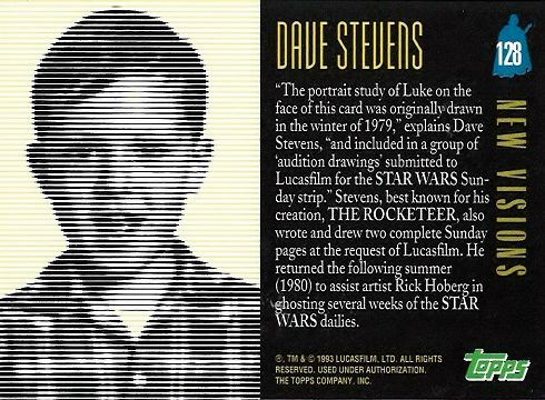 Dave Stevens bio for Star Wars Galaxy Trading Card set by Topps