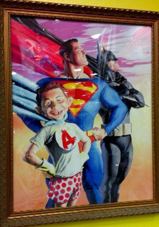Alex Ross does Alfred E. Neuman, Superman, and Batman
