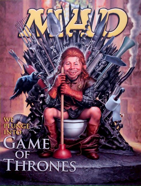 Alfred E. Neuman sitting on a toilet in a Game of Thrones parody