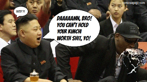 Kim Jong-un and Dennis Rodman satire