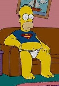 Homer Simpson in Superman shirt and white underwear