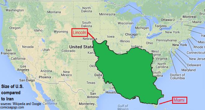 httpcomicsagogofileswordpresscom201310map of united states compared to iranpng