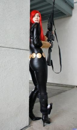 Cosplay of Black Widow in stiletto heels