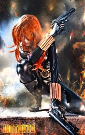 Crouching Black Widow cosplayer