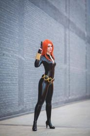 Sexy and sleek Black Widow cosplayer