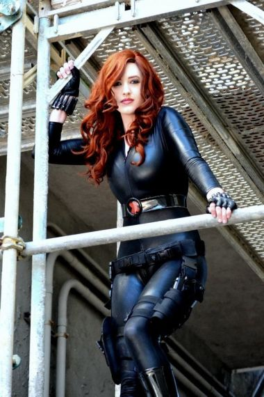 Black Widow cosplay, looking down from above