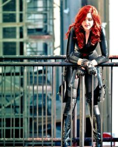Black Widow cosplayer in a city scene