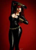 A voluptuous Black Widow cosplayer