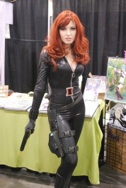 Black Widow cosplayer at a convention