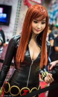 Asian Black Widow cosplayer