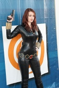 Black Widow Cosplayer posing