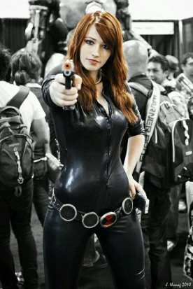 Black Widow cosplayer, aiming her gun