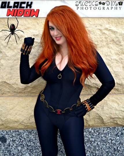 Orange haired Cosplay of Black Widow, cosplayer