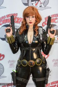 Curvy and busty Black Widow cosplayer