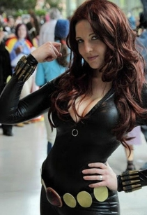 Black Widow cosplayer posing at a convention