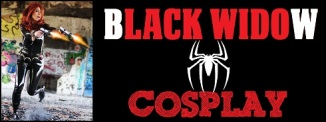 Black Widow Cosplayers displaying their costumes