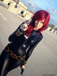 A Black Widow Cosplayer with classic costume