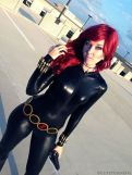 Sleek an shiny costume, Black Widow Cosplay