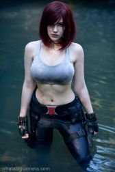 Black Widow cosplayer in the water