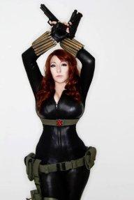 Curvy Black Widow in corset