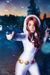 Black Widow cosplayer in white uniform