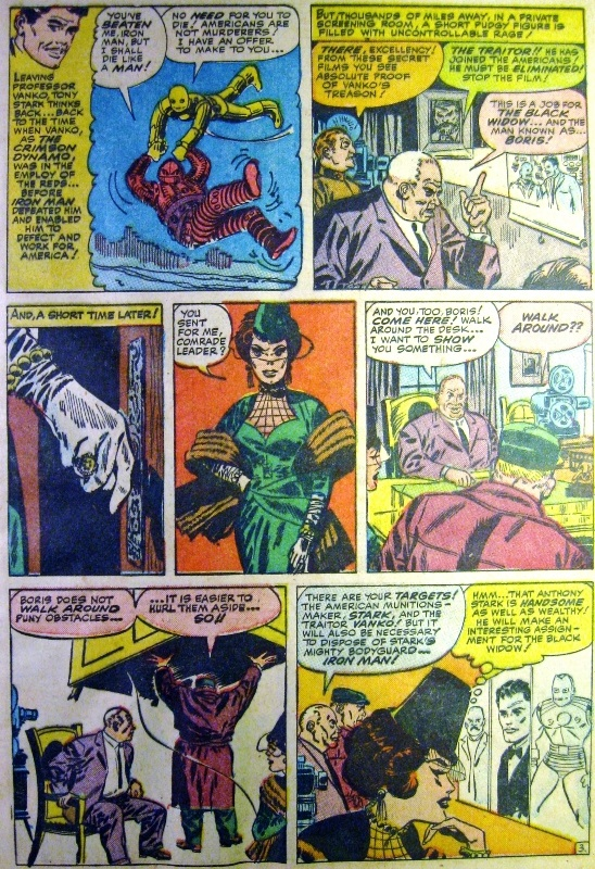 The first appearance of Black Widow on a comic book page of Tales of Suspense 52