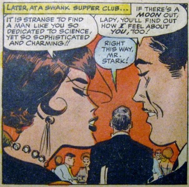 Natasha Romanova romancing Tony Stark