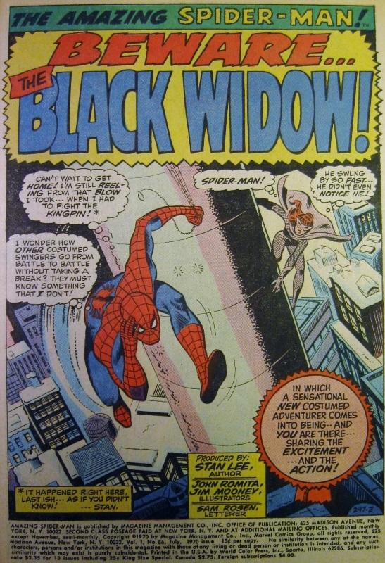 Splash page for Amazing Spider-man #86, Black Widow shown
