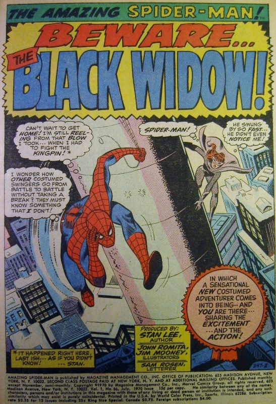 Splash page for Amazing Spider-man #86, Black Widow shown