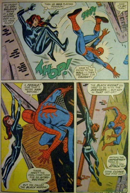 Spider-man fights back, knocks Black Widow off a ledge