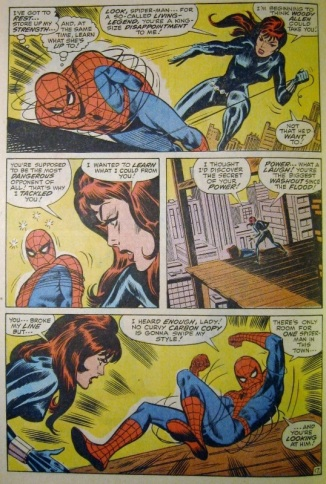 Spider-man shows his strength to Black Widow
