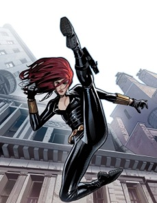 Black Widow jumping and kicking