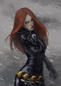 Black Widow pointing gun