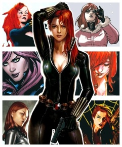 Black Widow sequences with faces behind her