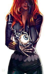 Black Widow with an electric eyeball