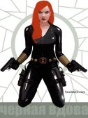 Black Widow kneeling with guns