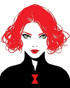 Black Widow minimalist black, white, and red art