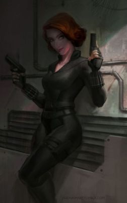 Black Widow from the Avengers movie color art